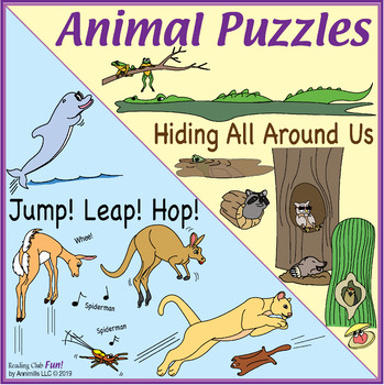 Bundle: Animals Jumping Two-Page Activity Set and Hidden Animal Names Crossword