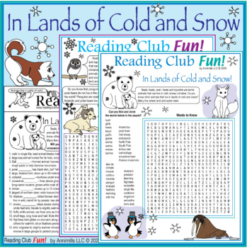 Bundle: Animals in Lands of Ice and Snow Two-Page Activity Set and Word Search