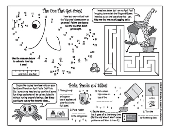 Bundle: April Fools' Day Two-Page Activity Set and Crossword Puzzle