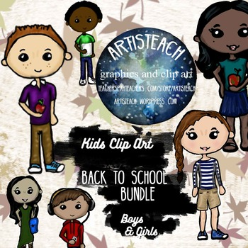 Bundle! Back to School Clipart - Male and Female - 48 Clip Art Teens Kids