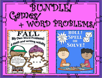 Bundle! Fall Word problems and Fun Games for Review! Grades 1 - 2