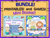 Bundle Back to School Mini Books Printables Game Math ELA  K - 1