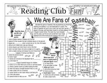 Bundle: Baseball and Spring Sports Two-Page Activity Set and Crossword Puzzle