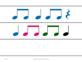 """Bundle: Basic Rhythm Patterns: 1 Measure, Full pg plus 2""""x8"""" Strips, Set A"""