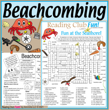 Bundle: Beachcombing and Seashore Two-Page Activity Set and Crossword Puzzle