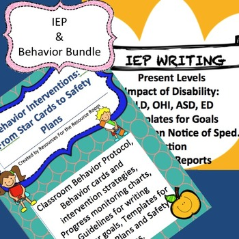 Back to School Bundle! Behavior Interventions/Plans, IEPs and Progress Reports
