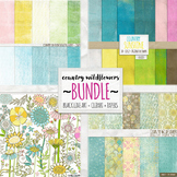 Bundle: Boho Country WildFlower, Digital Papers, Clipart and Black Line Doodles