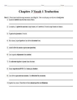 Bundle: Bon Voyage Chapitre 3 Vocab & Grammar Worksheets