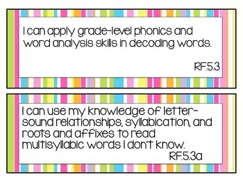 Bundle: 5th Grade Common Core I can statement signs- ELA & Math (bright colors)
