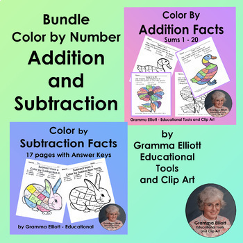 Color by Number Bundle Addition and Subtraction 28 student pgs No prep + answers