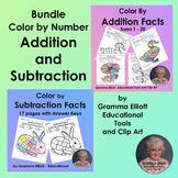 Bundle of Color by Number Addition and Subtraction Basic Facts No Prep