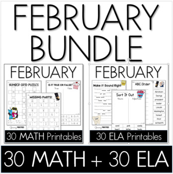Bundle - Common Core Crunch February - Math & ELA CCSS Printables