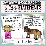 Common Core & NGSS Objectives - Student-Friendly I Can Sta