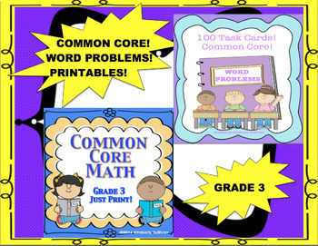 End of the year review Bundle No Prep Printables and 100 Word Problems!  Grade 3