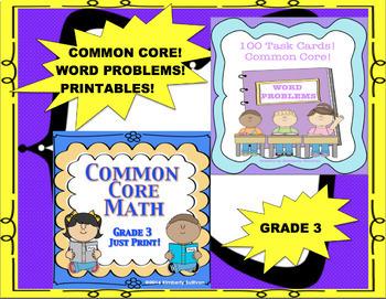 Fall Review Bundle No Prep Printables and 100 Word Problems!  Grade 3