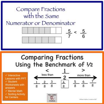 Bundle Comparing Fractions: Same Numerator/Denominator and benchmark 1/2