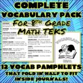 Bundle: Complete Vocabulary Pack for 8th Grade Math TEKS
