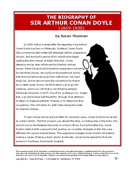 """Bundle: Conan Doyle Biography & """"The Red-Headed League"""" Close Reading Guides"""