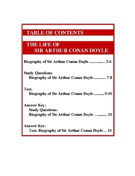 "Bundle: Conan Doyle Biography and ""Speckled Band"" (39 Pgs., Ans. Keys Inc., $10)"