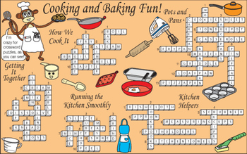 Bundle: Cooking and Baking Fun Two-Page Activity Set and Crossword Puzzle