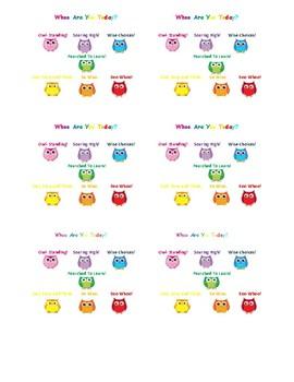 Bundle Deal: Owl Themed Behavior Clip Chart & Communication Log