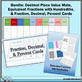 Bundle: Decimal Place Value Mats, Fraction/Decimal/Percent Sort, Equiv Fractions