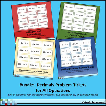 Bundle: Decimal Problem Tickets / Cards: Adding/Subtracting/Multiplying/Dividing