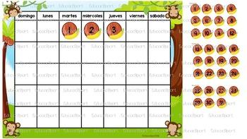 Bundle Decorativo Monitos: Calendario, tiempo y nameplates