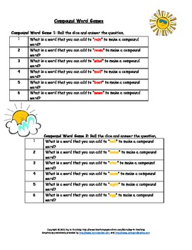 Bundle:  Dice Games- Compound Words and Contractions