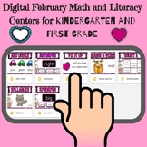 Bundle:Digital Feb. Math and Literacy Centers for Kindergarten &1st Grade