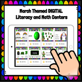 Bundle: Digital March Math and Literacy Centers for Kindergarten and First Grade