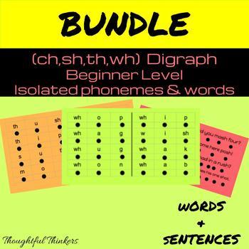 Bundle:  Digraph Beginner Level Isolated Words & Sentences
