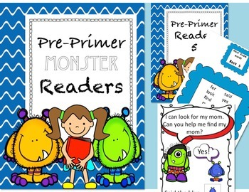 Bundle: Dolch readers, Monster themed with flashcards!