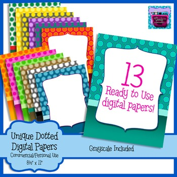 Unique Polka Dot Digital Paper - embedded text area