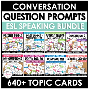 Bundle: ESL Conversation Question Card Sets (578 different questions)
