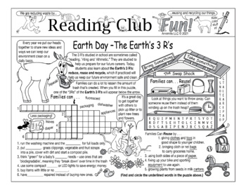 Bundle: Earth Day 3 R's Two-Page Activity Set and Crossword Puzzle