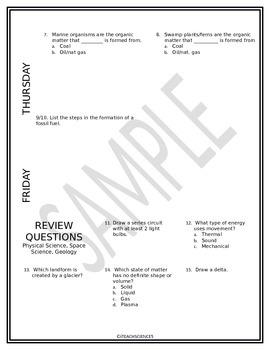 Bundle: Earth Science Homework, WarmUp, or Quiz