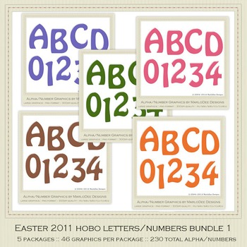 Bundle Easter 2011 Candy Gloss Alpha Letters & Number Graphics