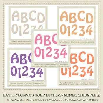 Bundle Easter Bunnies Candy Gloss Alpha Letters & Number Graphics 2