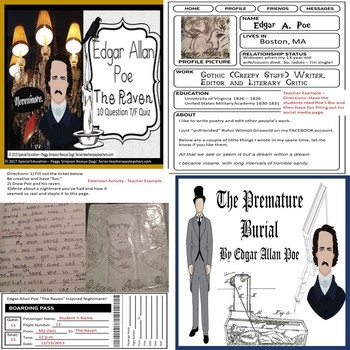 Edgar Allan Poe Bundle Raven, Cask, Masque, Black Cat, Usher SPED/ELD/ODD