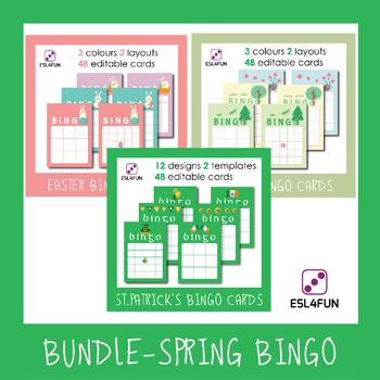 Bundle- Editable Spring Holidays Bingo
