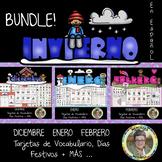 Bundle! El INVIERNO Tarjetas de Vocabulario, Días Festivos y MÁS...