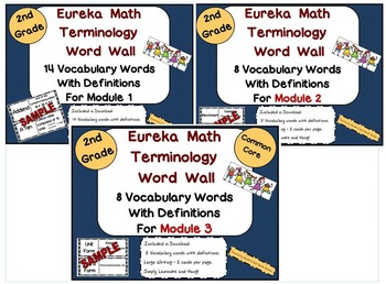 2nd Grade Bundle Eureka Math Modules 1, 2, and 3 Terminology Word Wall