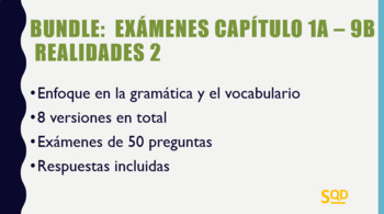 Bundle:  Exámenes Realidades 2 Capítulos 1A - 9B