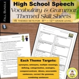FALL High School Speech Therapy Vocabulary and Grammar Skill Sheets Bundle