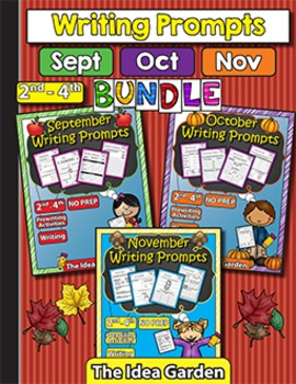 Fall Bundle - Writing Prompts NO PREP (Second-Fourth) - Sept/Oct/Nov