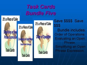 Bundle Five Task Cards: Order of Ops, Eval an Open Phrase, Simplifying Express.