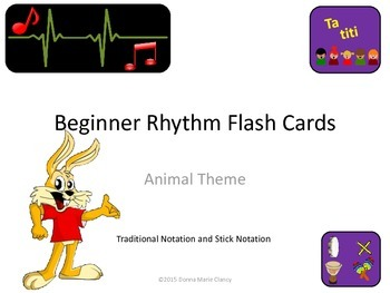 Bundle: Flashcards: Rhythm: Animal Pictures: Traditional and Stick Notations