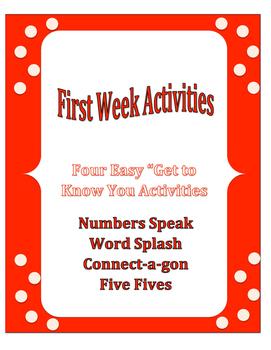 First Week of School: Bundle Four Activities
