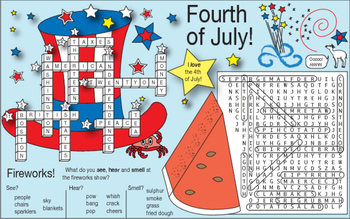 Bundle: Fourth of July (American Revolution) Two-Page Activity Set and Crossword